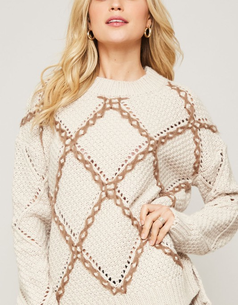 Contrast Crochet Knit Sweater