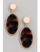 Circle Oval Acetate Dangle Earrings