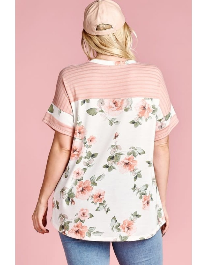 Floral Knit Top with Striped Contrast