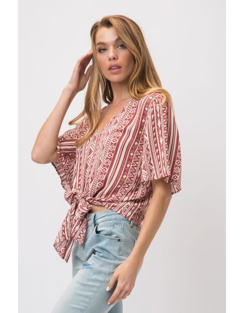 Geo Print V-Neck Tie Top