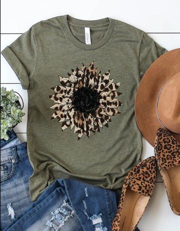 Leopard Print Sunflower Graphic Tee