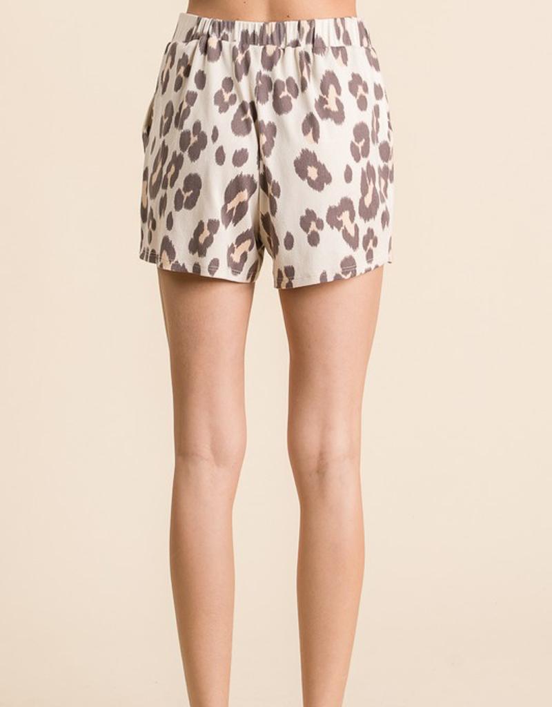 Drawstring Leopard Print Shorts