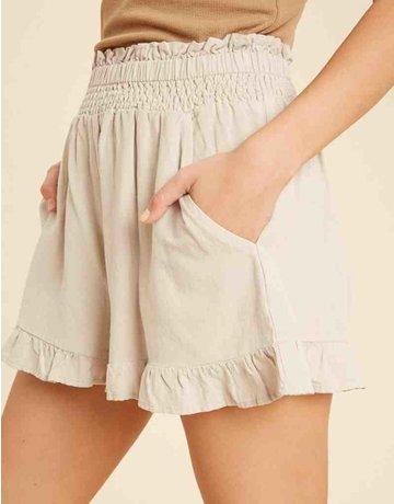 Smocked Linen Shorts w/ Ruffle Hem