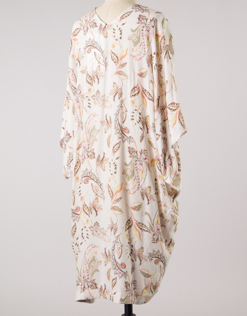 Paisley Print Dolman Sleeve Kimono