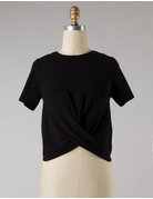 Front Twist Cropped Knit Top