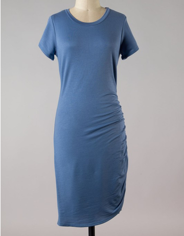 Short Sleeve Ruched Side Dress