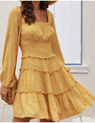 Confession of Love Ruffled Long Sleeve Dress