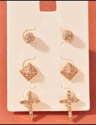 Bling Cross Earring Set