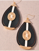 Leather Oval Detailed Earring