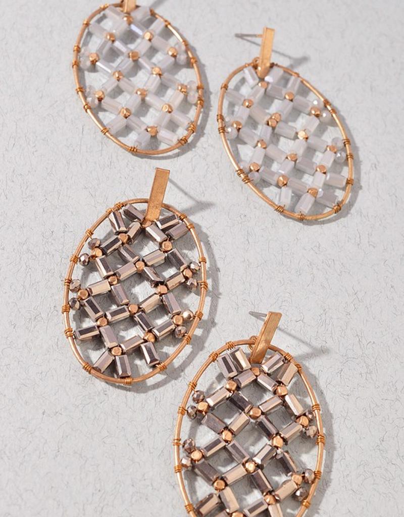 Beaded Basket Woven Earring