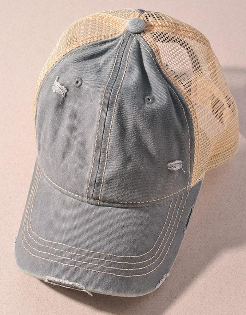 C.C. Distressed Pony Tail Hat