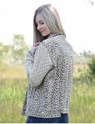 Leopard Print Jacket With Sweater Sleeves