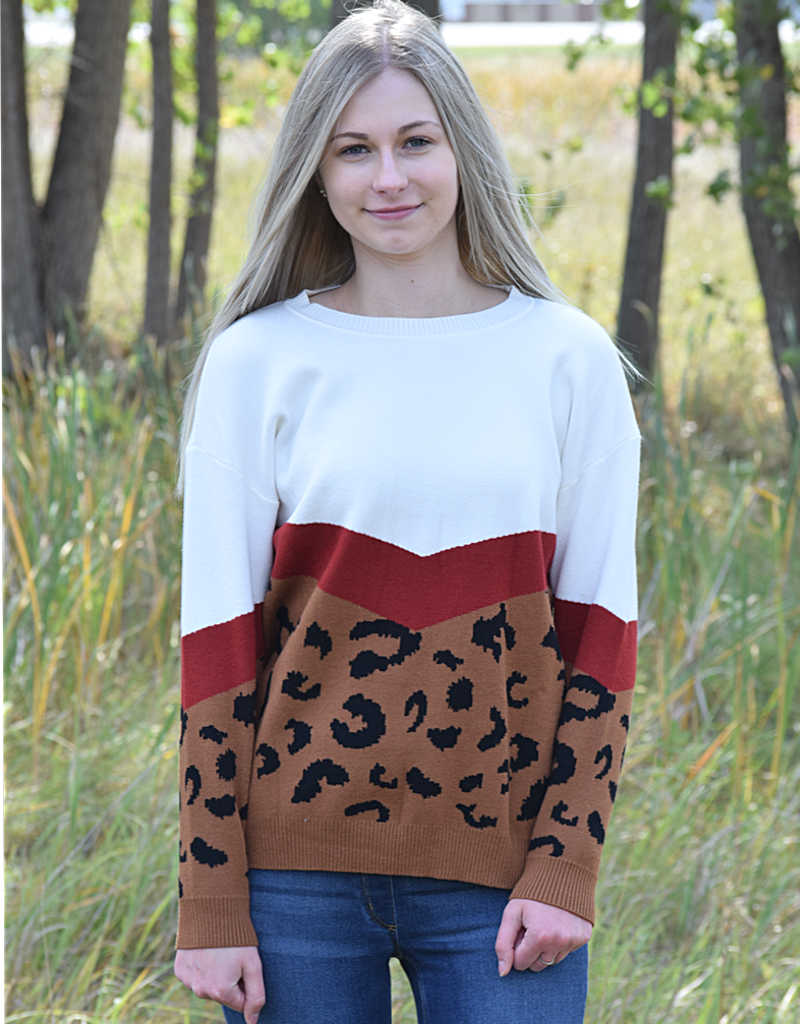 Leopard Printing Splicing Knitted Sweater