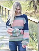 Multi Color Puff Sleeve Sweater