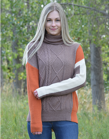 Turtleneck Cable Knit Splicing Sweater