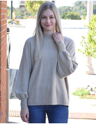 Puff Mock Neck Knit Sweater