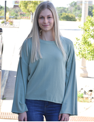Round Neck Bell Sleeve Top
