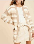 Multicolor Knit Striped Long Cardigan