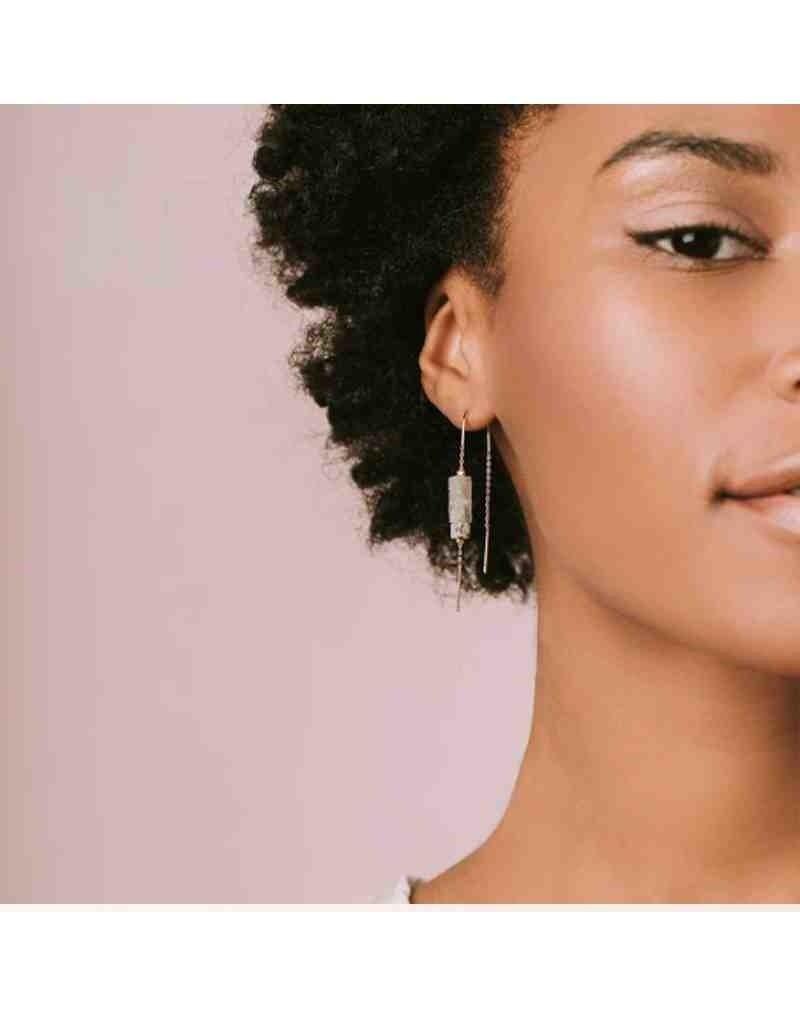 Rectangle Stone Earring