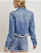 Distressed Hem Crop Jacket