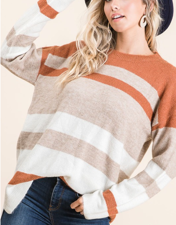 Multi Stripe Sweater With Side Slits