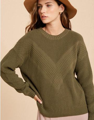 Multi-Textured Chevron Sweater