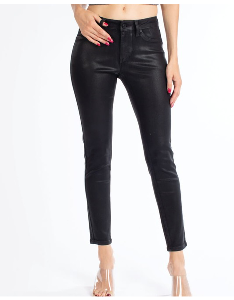 Mid Rise Coated Denim Super Skinny