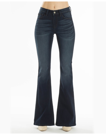 Mid Rise Dark Flare Jeans