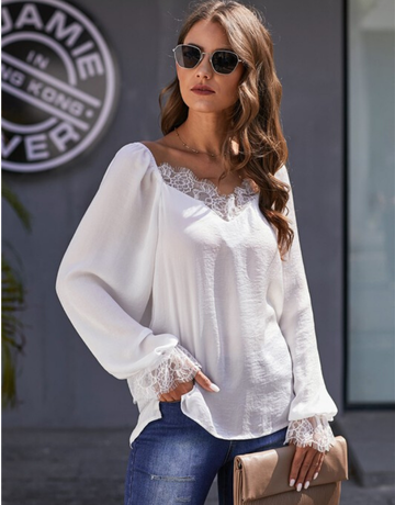 Satin Lace Blouse Top
