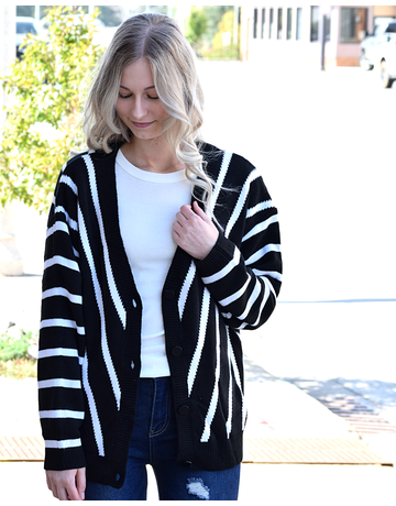 V Neck Stripe Long Sleeve Sweater