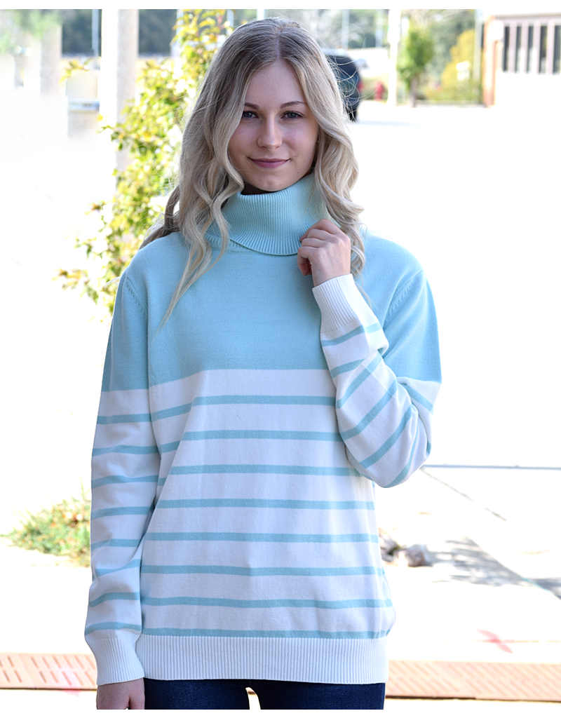 Stripe Turtleneck Pullover Sweater