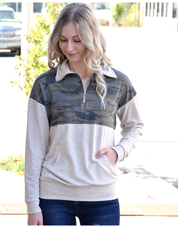 Camo Quarter-Zip Top