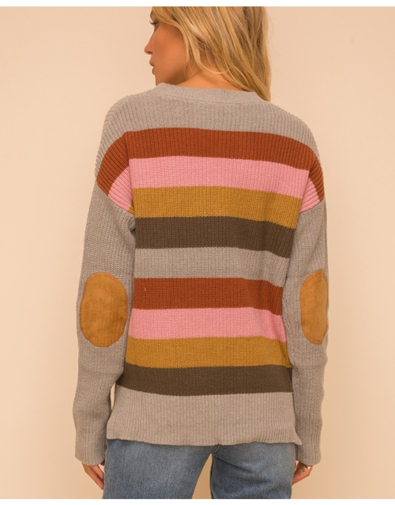 Colored Stripe Suede Detail Sweater