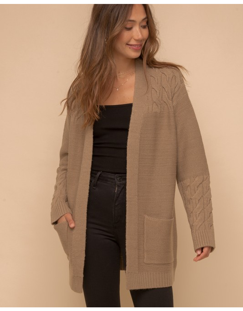 Cable Texture Mixed Sweater Cardigan