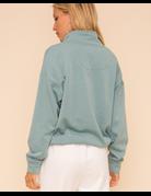 Half-Zip Sherpa Trimmed Fleece Sweatshirt