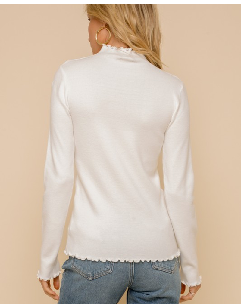 Ruffle Edge Mock Neck Fitted Top