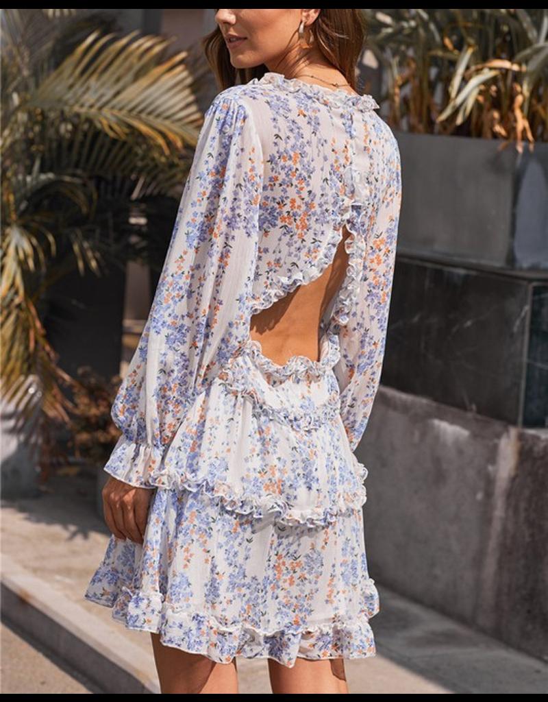 Ruffle Detailing Open Back Floral Dress