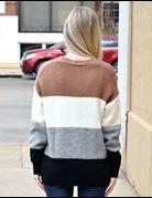 Color Block Buttoned Sweater Cardigan