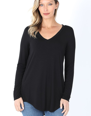 Long Sleeve V-Neck Hi-Low Hem Top