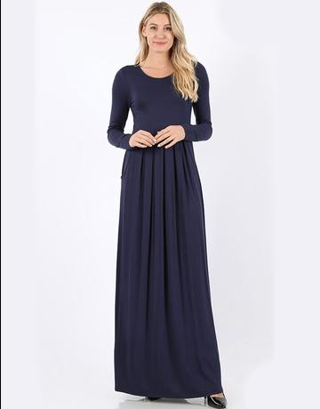 Pleated Waist Long Sleeve Dress