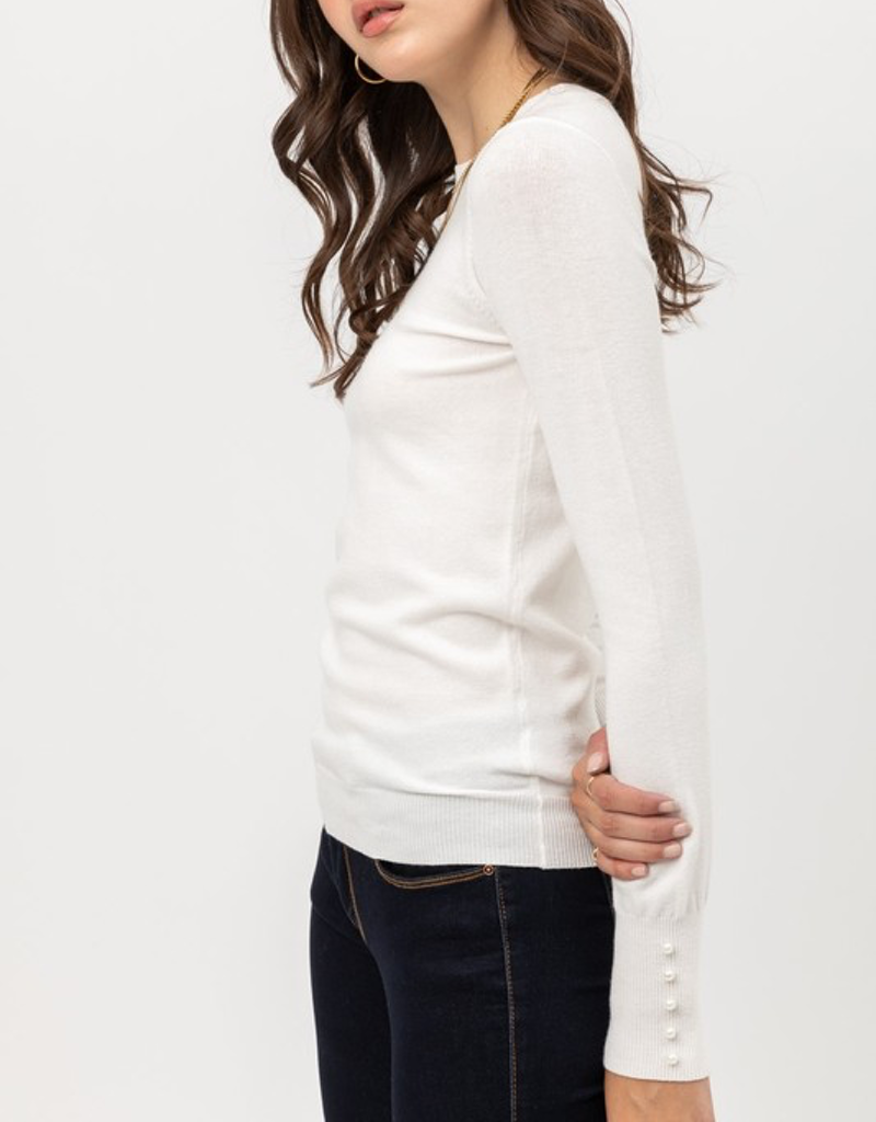 Long Pearl Detail Sleeves Solid Sweater