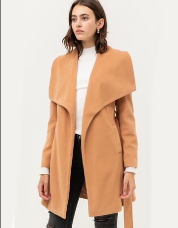 Wide Collar Waist Tie Long Coat