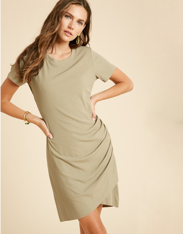 Ribbed Ruched Tulip Mini Dress