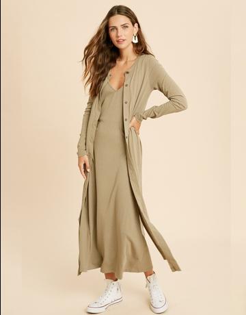 Midi Knit Dress & Cardigan Set
