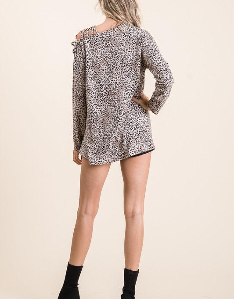 Leopard Soft Knit One Shoulder Top