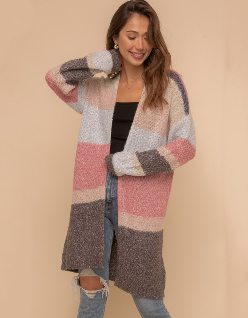 Color Block Open Sweater Cardigan
