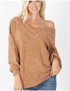 Balloon Sleeve Wide V-Neck Sweater