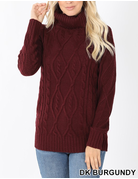 Cable Knit Turtleneck Sweater - Dark Burgundy