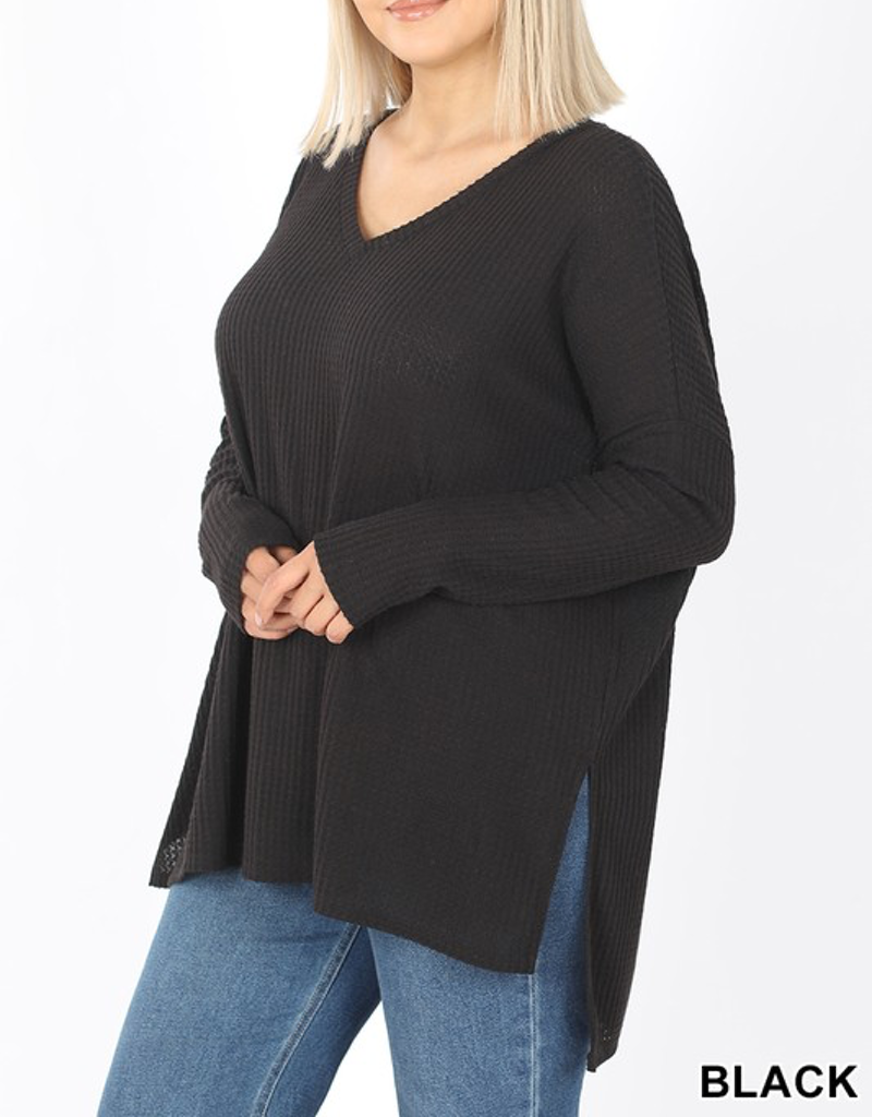 Curvy Thermal Hi-Low V-Neck Sweater - Black