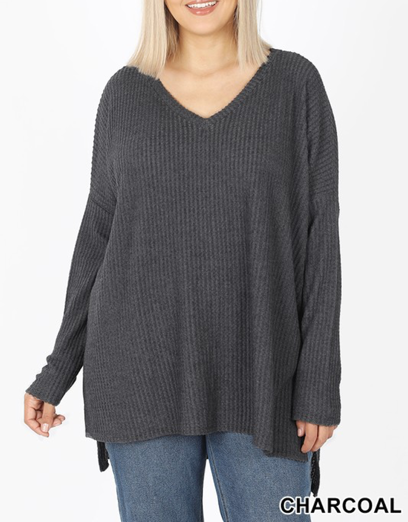 Curvy Thermal Hi-Low V-Neck Sweater - Charcoal